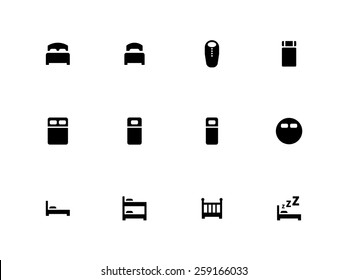Bed icons on white background. Vector illustration.