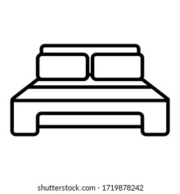Bed line icon, outline vector sign, linear style pictogram isolated on white.