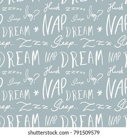 Bed linen design pattern. Sleepy doodle - sleep time vector texture with handwritten words.