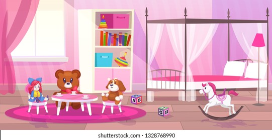 Bed room girl. Child bedroom interior girls apartment toys girly storage decor furniture kid playroom flat cartoon vector illustration