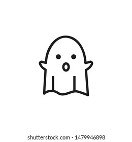 Bed sheet ghost line icon. Spirit, phantom, creature. Halloween concept. Can be used for topics like monster, supernatural, poltergeist