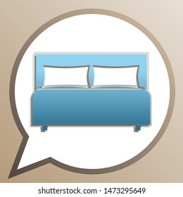 Bed sign. Bright cerulean icon in white speech balloon at pale taupe background. Illustration.