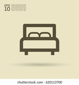Bed single line vector icon