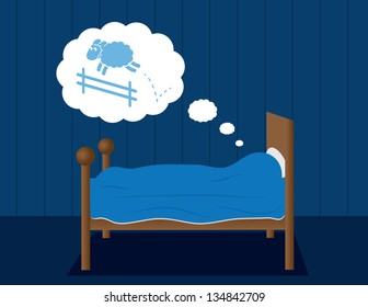 Bed with someone dreaming of jumping sheep