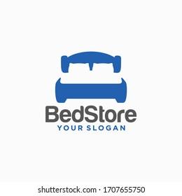 Bed Store Logo Design Vector Template