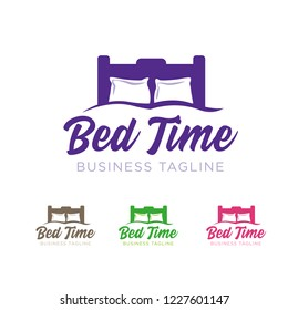 Bed Time logo with two pillows in four colors - violet, brown, green and pink