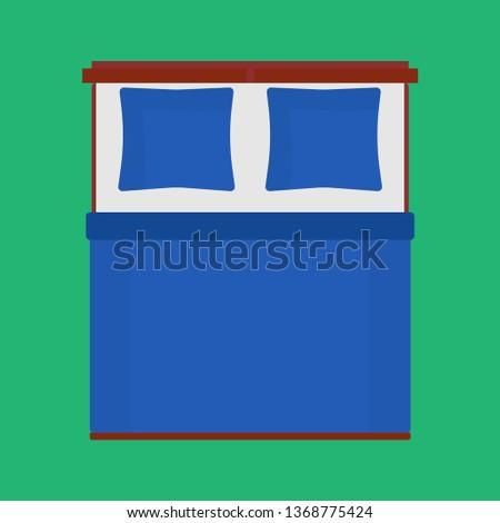 Bed Top View Vector Bedroom Cartoon Stock Vector Royalty Free
