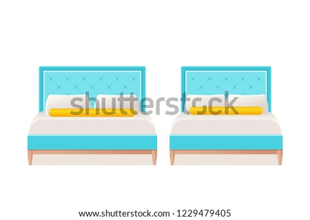 Bed Vector Double Single Bed Flat Stock Vector Royalty Free