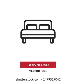 Bed vector icon in modern style for web site and mobile app