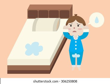 bed wetting cartoon vector