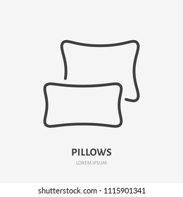 Bedding, bedroom decorations flat line icon. Vector illustration of pillows, cushion. Thin linear logo for interior store.