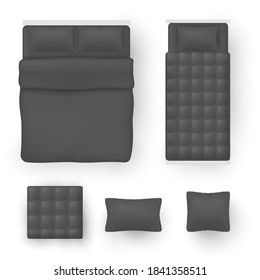 Bedding for double size and single beds black blank mock ups realistic set. Bedroom accessories. Comforter, pillow, blanket, cushion template. Vector bedclothes, bedlinen collection isolated on white.