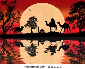 Bedouin camel caravan in Arabian landscape on sunset, vector illustration