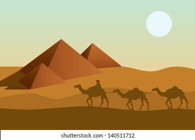 Bedouin camel caravan and pyramid silhouette