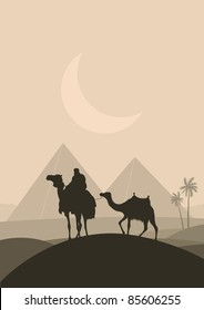 Bedouin camel caravan in wild Africa pyramid landscape illustration