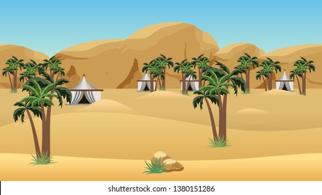 Bedouin camp in desert. Landscape for cartoon or game asset. Parallax layers for game level background.  Vector illustration