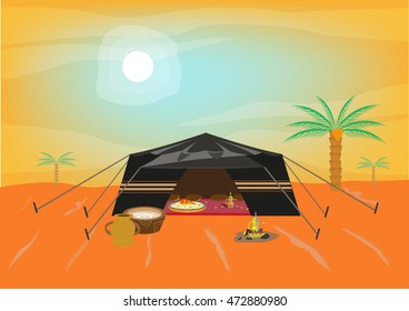Bedouin tent during a dusty day offering kabsa cultural food and coffee. Editable Clip Art.