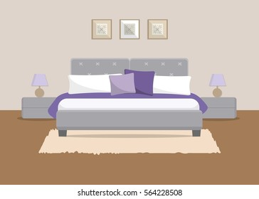 Bedroom in a beige color. There is a bed with violet and white pillows, bedside tables, lamps and other objects in the picture. Vector flat illustration