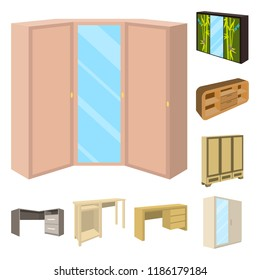 Bedroom furniture cartoon icons in set collection for design. Modern wooden furniture isometric vector symbol stock web illustration.
