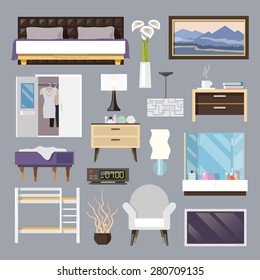 Bedroom furniture flat icons set with bed lamp armchair isolated vector illustration