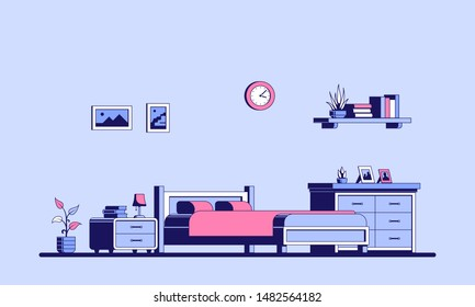 Bedroom with furniture. Flat style interior illustration. Banner design.