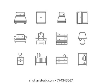 Bedroom furniture line icons set with double bed, wardrobe, sofa, dressing table, lamp, nightstand, baby crib.