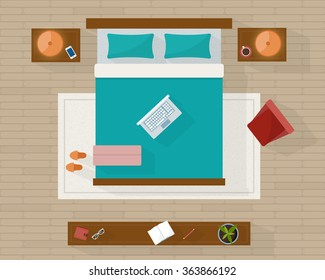 Bedroom with furniture overhead top view. Apartment plan. Flat style vector illustration.