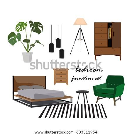 bedroom furniture set interior design home のベクター画像素材