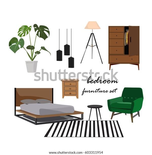 Bedroom Furniture Set Interior Design Home Stock Vector Royalty Free 603311954
