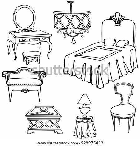 Bedroom Furniture Set Vector Doodle Handdrawn Stock Vector Royalty