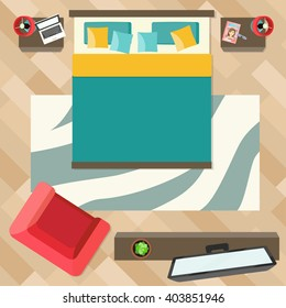Bedroom with furniture  top view. Flat style vector illustration.