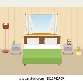 Bedroom with furniture and window. Flat style illustration.