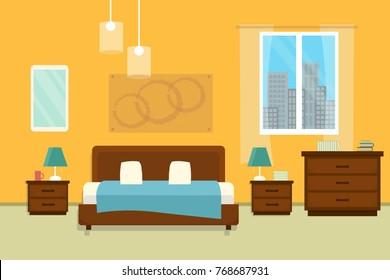 Quarto com móveis e janela. Ilustração vetorial de estilo plano. Interior acolhedor. Quarto de hotel.