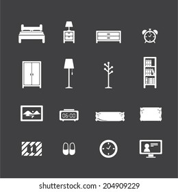 bedroom icon set