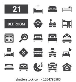bedroom icon set. Collection of 21 filled bedroom icons included Real estate, Tv table, Sleep, Bed, Bedside table, Pillow, Medical bed, Single bed, Furniture, Bunk bed, Nightstand