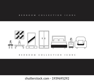 Bedroom icons collection templet , vector, illustration room logo .