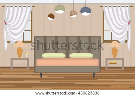 Bedroom Illustration Elevation Room Bed Side Stock Vector Royalty