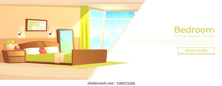 Bedroom indoor interior banner concept. Cozy hotel room for couple. Luxury furniture. Vector cartoon illustration.