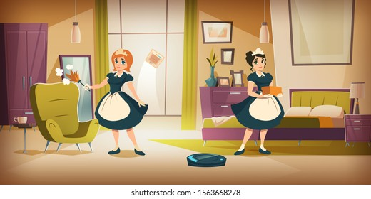 Bedroom interior with cleaning maids, home cleaning or hotel room service cartoon vector illustration. Interior with women in black dresses and white aprons with dusk whisk in hand and vacuum robot