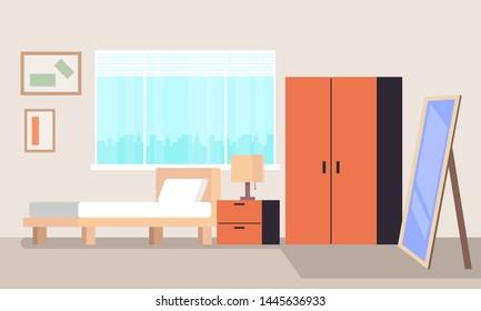 Bedroom interior concept. Vector flat cartoon graphic design isolated illustration