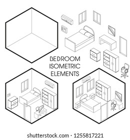 Bedroom interior creator. Vector isometric cutaway empty room and with modern furniture in linear style. Bedroom constructor.