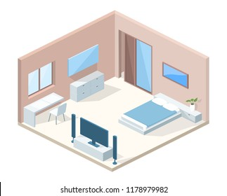 Bedroom interior in cross section vector illustration. Modern hotel room minimalistic comfortable design and furniture, blanket on bed, table and chair with TV set and plant on drawer