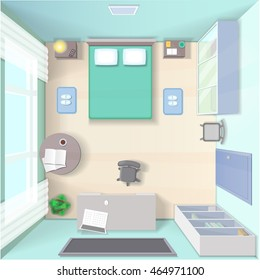 Bedroom interior design with bed, wardrobe, workplace with computer and table top view realistic modern living room vector illustration