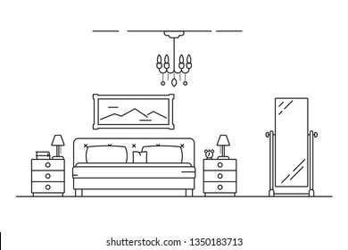 Bedroom interior line art vector illustration with bed, nightstand, mirror and lamps