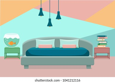 Bedroom interior vector. Colorful illustration of hotel apartment furniture bed, aquarium, lamp, house books. Concept for web site design or advertisement. Isolated on White background