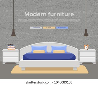 Bedroom interior vector. Colorful illustration of hotel apartment furniture bed, bedside table, lamp, house plant. Concept for web site design or advertisement. Isolated on White background