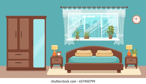 Bedroom interior vector. Colorful illustration of hotel apartment furniture: bed, bedside table, lamp, house plant. Concept for web site design or advertisement.  Isolated on White background