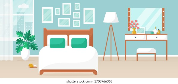 Bedroom interior. Vector illustration. Design of a modern room with double bed, dressing table, window and decor accessories. Home furnishings. Horizontal flat banner.