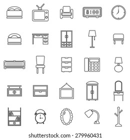 Bedroom line icons on white background, stock vector
