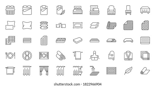 Bedroom linen flat line icons set. Double bed, cushion, blanket, sheets, pillow, mattress topper, curtain, bathrobe vector illustrations. Outline signs of house textile, editable stroke.